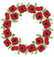 Poppy seeds flowers wreath vector image