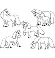 set cute cartoon horses vector image vector image