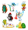 set of cute joyful insects in the morning isolated vector image