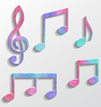 Set of music icons with triangles texture vector image