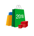 set of paper shopping bags with numbers 2018 vector image vector image