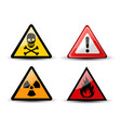 set of triangular warning hazard signs vector image
