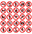 set prohibited no stop sign vector image vector image