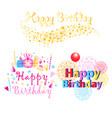 set three colorful happy birthday greeting vector image