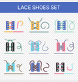 shoe lacing ways transparent set vector image