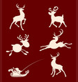 silhouettes of christmas deer set vector image vector image