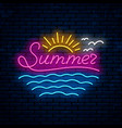 summer night neon sign vector image vector image