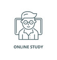 teacher online study with notebook line vector image