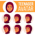 teen girl avatar set arab muslim face vector image vector image