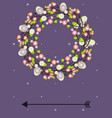 template for invitation with floral wreath vector image vector image