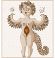 weird creature nude woman with wings an vector image
