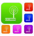 wifi router set color collection vector image vector image