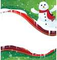 Winter background with a happy snowman in red vector image vector image