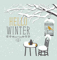 winter street cafe under tree with bird in cage vector image vector image