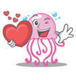 with heart cute jellyfish character cartoon vector image