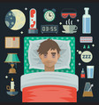 young man with sleep problem insomnia and items vector image