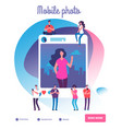 young people posting self photos social network vector image