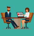 businesswoman addressing meeting to businessman at vector image