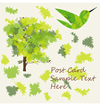 Applique style background with tree leaf and bird vector image