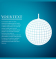 disco ball flat icon on blue background vector image