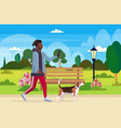 african american man walking with dog using vector image