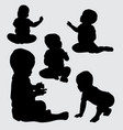 baby silhouette vector image vector image