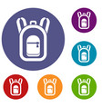backpack icons set vector image vector image