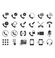 basic phone and call icon set solid style vector image vector image