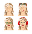 beautiful girl with four facial expressions vector image vector image