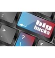 big bucks on computer keyboard key button vector image vector image