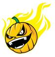 burning pumpkin head vector image vector image