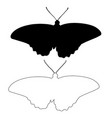 butterfly silhouette outline icon eps set vector image