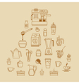 cafe equipment outline icons design collection2 vector image vector image