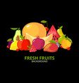 cartoon fruits background colorful healthy food vector image vector image