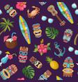cartoon summer travel elements pattern vector image vector image