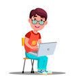 child in glasses at the laptop isolated vector image