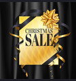 christmas sale banner with gold gift present vector image vector image