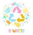 colorful zero waste logo design template set vector image
