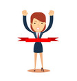 concept of successful businesswoman in a finishing vector image vector image