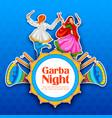 couple playing dandiya in disco garba night poster vector image vector image