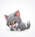 cute smiling cartoon kitten cat lying vector image vector image