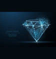 diamond low poly wireframe mesh jewelry gem vector image