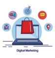 digital marketing laptop with bag gift shopping vector image