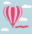 Flat hot air balloon in the shape of a heart with vector image vector image