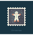 Gingerbread man Christmas flat stamp vector image vector image