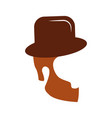 hair hipster style with gentleman hat model vector image vector image