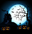 halloween night blue background with pumpkins and vector image