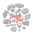 hand drawn french food elements set vector image