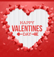 happy valentines day with red heart on wood vector image