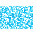Hibiscus and palm tree in a repeat pattern vector image